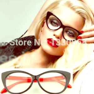 RED & BLACK VINTAGE LOOK CAT EYE FRAME GLASSES NEW
